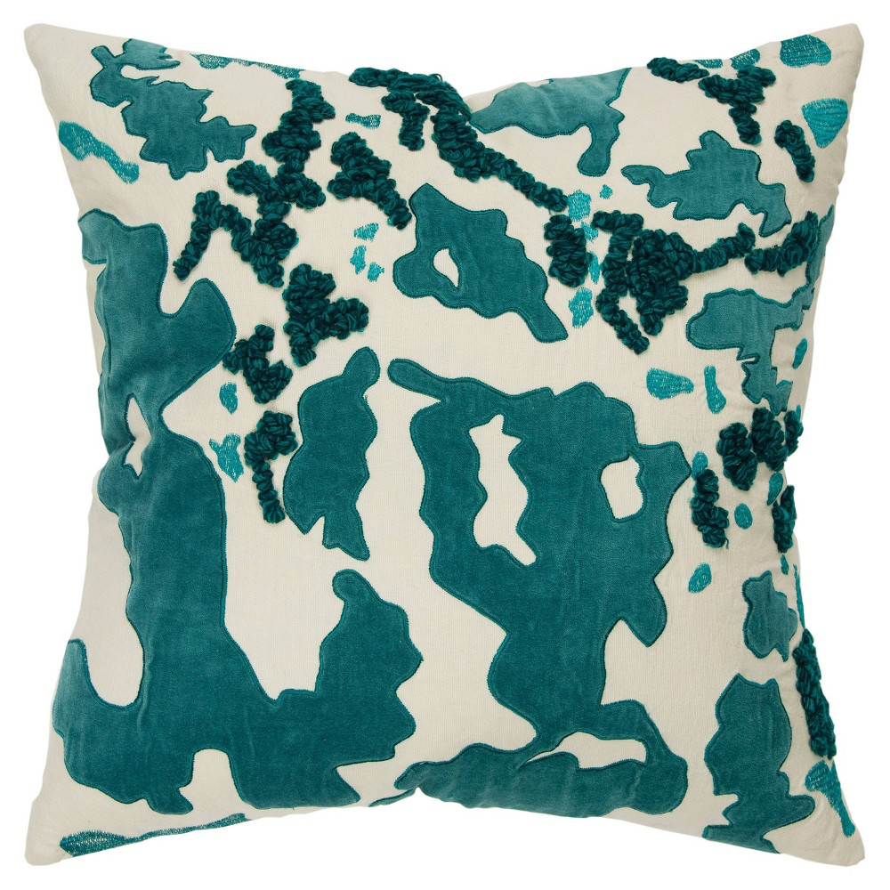 "Image of ""20""""x20"""" Abstract Polyester Filled Pillow Teal - Rizzy Home"""