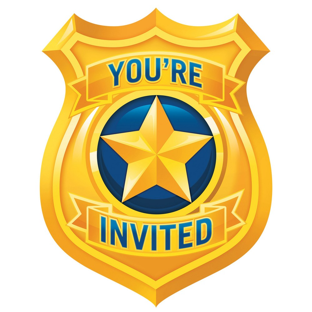 8ct Creative Converting Police Party Invitations