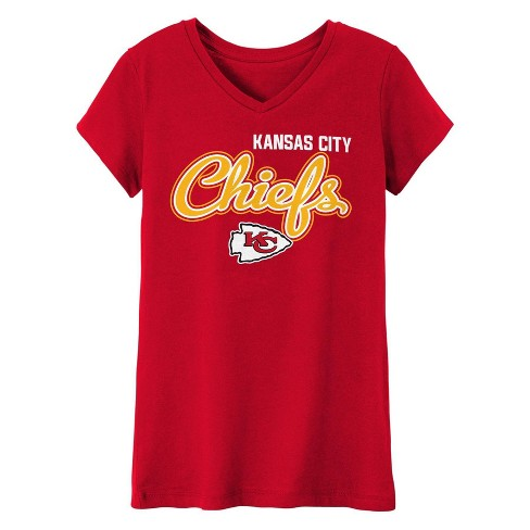 NFL Kansas City Chiefs Girls' In the Game V-Neck T-Shirt - image 1 of 1