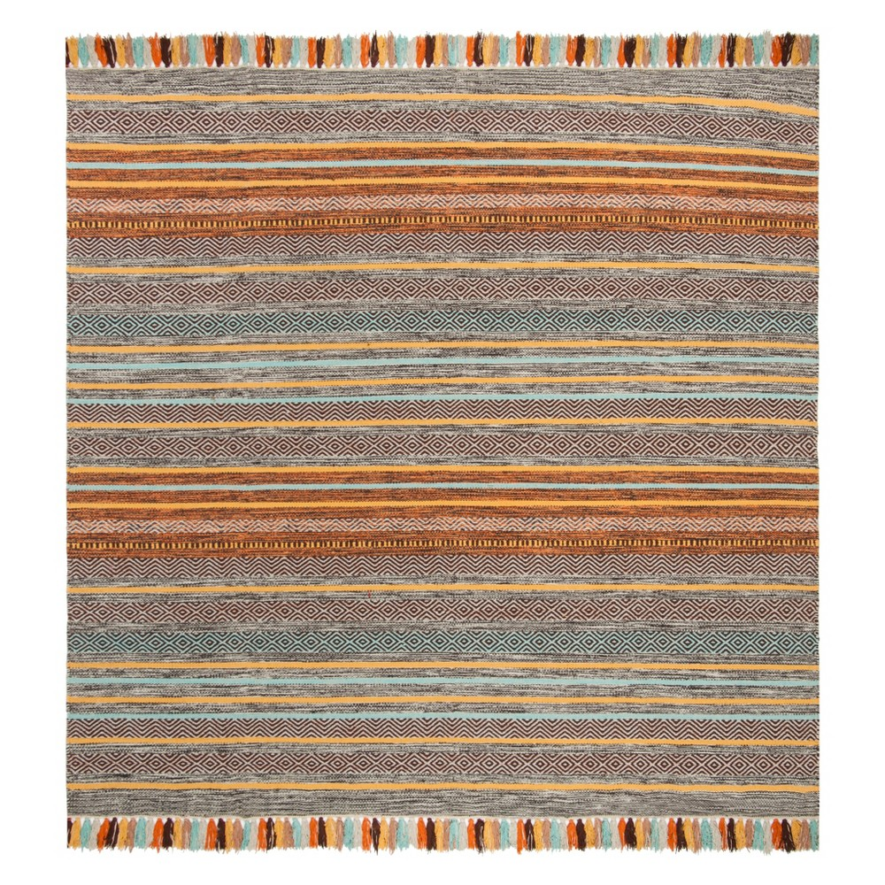 6'X6' Stripe Woven Square Area Rug Turquoise/Brown - Safavieh