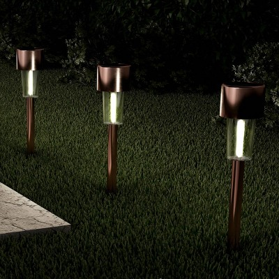 12pk 12  Solar Path LED Outdoor Stake Lights Bronze - Pure Garden