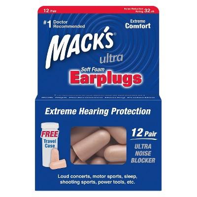 Mack's Utlra Soft Foam Earplugs with Travel Case - 24ct (12 Pair)