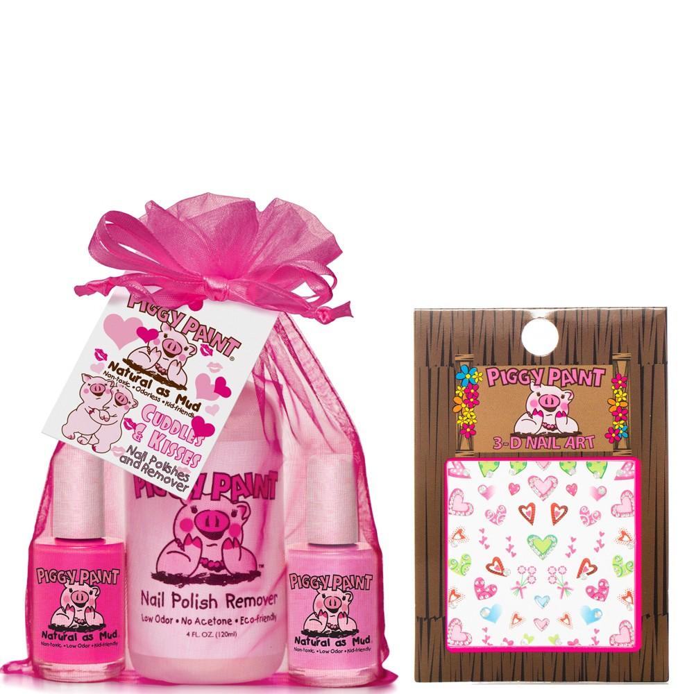 Piggy Paint Cuddles and Kisses Non-Toxic Nail Polish, Polish Remover with Nail Art Set, Cuddles & Kisses