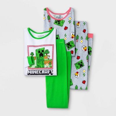 Girls' Minecraft 4pc Pajama Set - Green/Gray