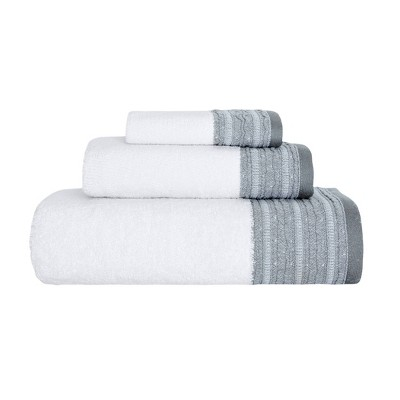 3pc Garen Luxury Fancy Towel Set White/Gray - Royal Turkish Towels