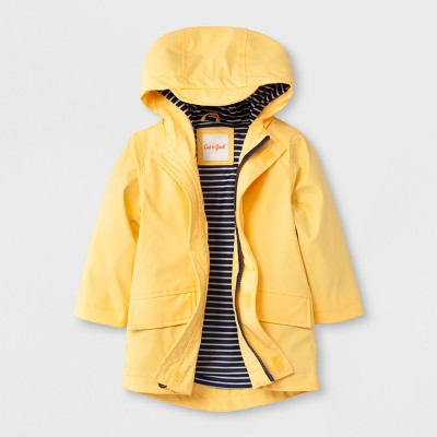 Toddler Boys' Solid Hooded Rain Jacket - Cat & Jack™ Yellow 12M