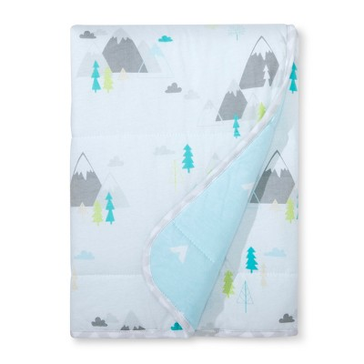 Jersey Knit Reversible Blanket Adventure Awaits - Cloud Island™ - Light Blue
