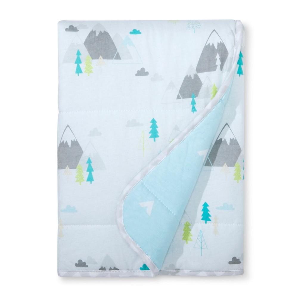 Jersey Knit Reversible Blanket Adventure Awaits Cloud Island 8482 Light Blue