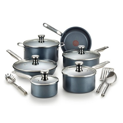 T-fal Endurance Collection Metal Spatula Safe Platinum Nonstick 14pc Cookware Set