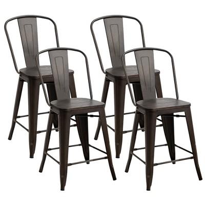 Costway Set of 4 Tolix Style Metal Dining Chairs w/ Wood Seat Kitchen Gun