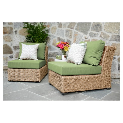 Elizabeth Pair of Armless Chairs with Sunbrella Fabric Spectrum - Cilantro - image 1 of 2