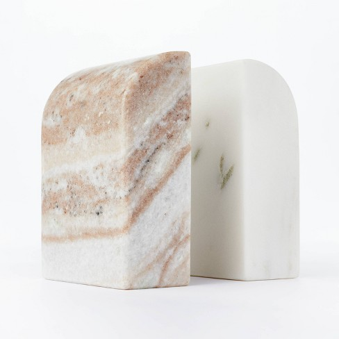 """5"""" x 3.5"""" Marble Stone Bookends Natural/White - Threshold™ designed with Studio McGee - image 1 of 4"""