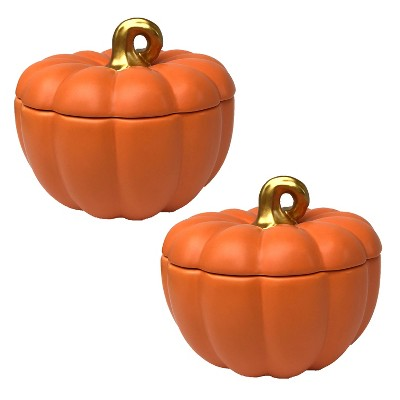 2pk Lidded Pumpkin Bowl Orange - Bullseye's Playground™