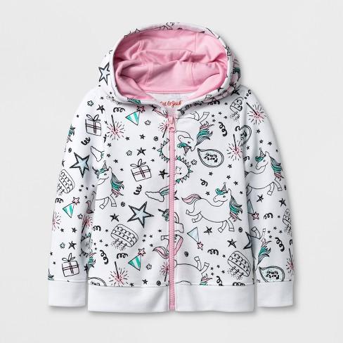 Toddler Girls' Unicorn Hooded Sweatshirt - Cat & Jack™ White - image 1 of 2