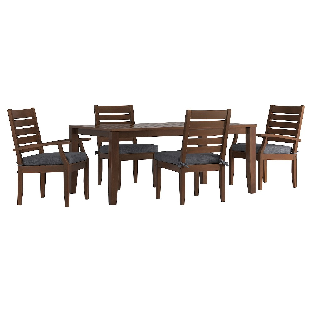 Parkview 5pc Rectangle Wood Patio Dining Set w/ Cushions - Brown/Gray - Inspire Q