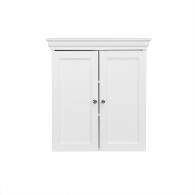 Decorative Wall Cabinet with Two Contemporary Doors White - Elegant Home Fashions
