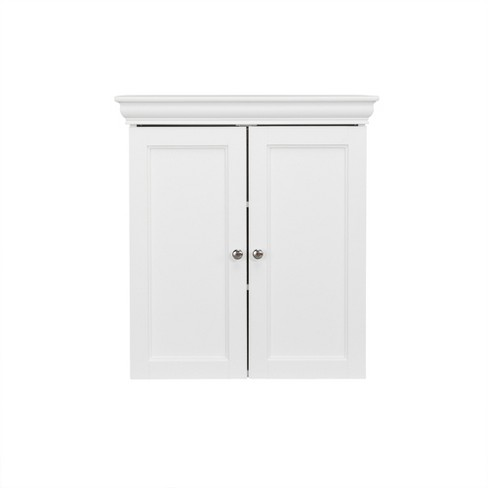 Decorative Wall Cabinet with Two Contemporary Doors White - Elegant Home Fashions - image 1 of 4