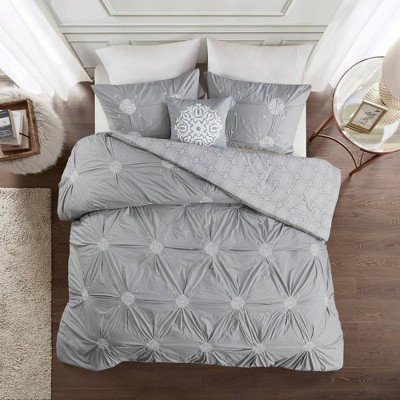 Alicia 4pc Embroidered Cotton Reversible Duvet Cover Set