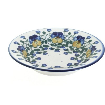 Blue Rose Polish Pottery Pansies Soup Plate with Rim