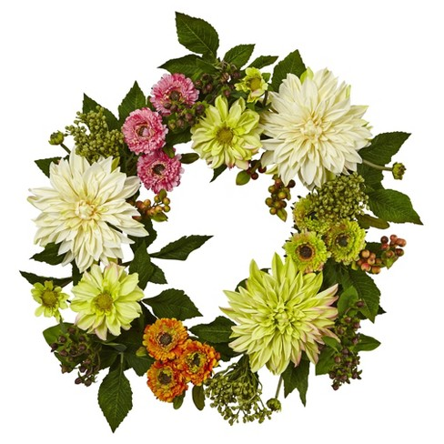 "Dahlia and Mum Floral Silk Wreath (22"") - Nearly Natural - image 1 of 2"