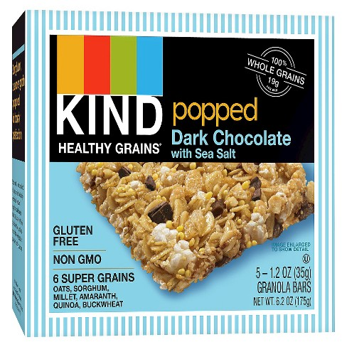 KIND Healthy Grains® Popped Dark Chocolate With Sea Salt, Gluten Free Granola Bars - 5ct - image 1 of 1