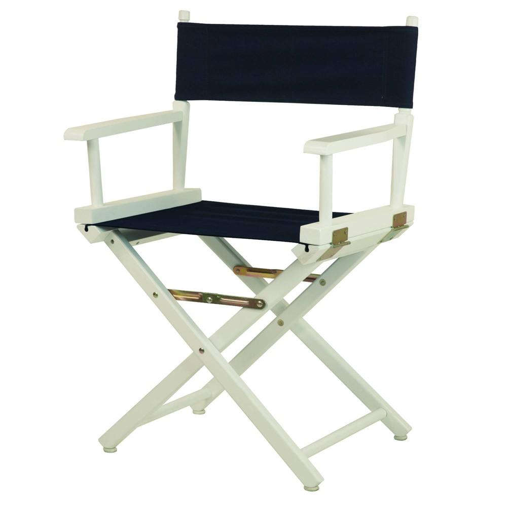 Director S Chair White Frame Blue Canvas