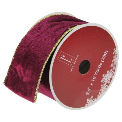 "Northlight Solid Wine Red Gold Wired Christmas Craft Ribbon 2.5"" x 10 Yards"