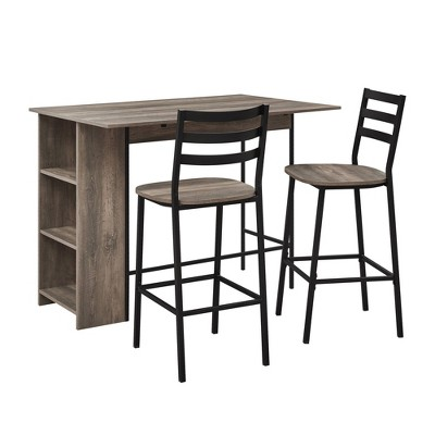 3pc Drop Leaf Counter Table Set - Saracina Home