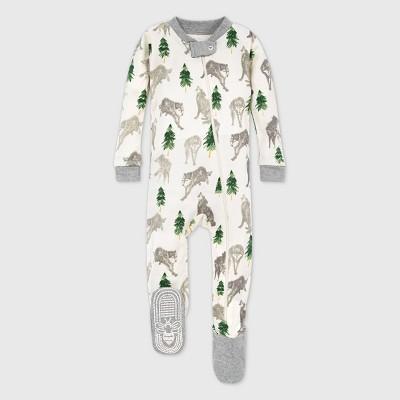 Burt's Bees Baby® Baby Boys' Organic Cotton Alpha Dog Footed Pajama - Gray/Cream 24M