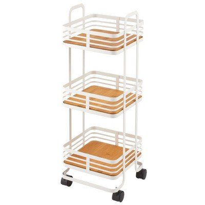 mDesign 3-Tier Square Rolling Household Storage Cart, 4  Wheels