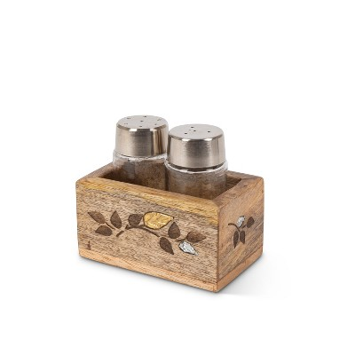GG Collection Glass Salt & Pepper Shakers in Mango Wood with Laser and Metal Inlay Leaf Design Base.