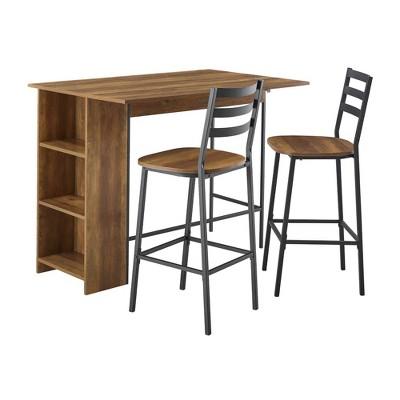 3pc Drop Leaf Counter Table Set - Saracina Home