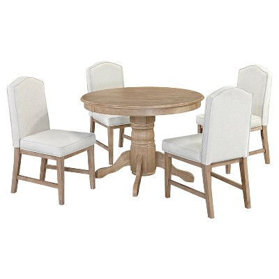 """Set of 5 Michael 42"""" Round Dining Table with Upholstered Chairs White Wash - Home Styles"""