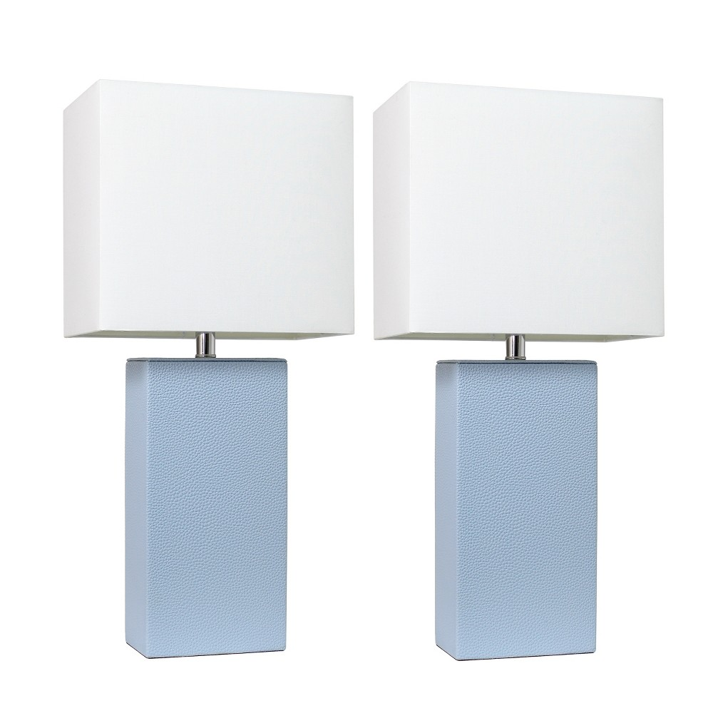 2pk Modern Leather Table Lamp Periwinkle Blue (Lamp Only) - Elegant Designs