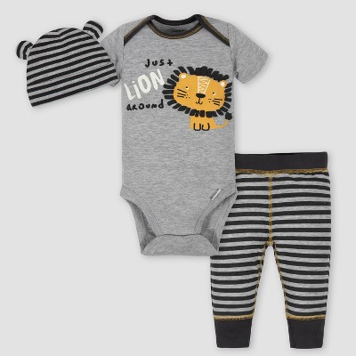 Gerber Baby Boys' 3pc Lion Bodysuit Set - Gray 0-3M
