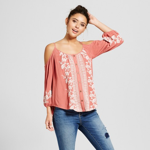 0bf49bc01ca783 Women s Button-Front Cold Shoulder Top - Xhilaration™ (Juniors ). Shop all  Xhilaration