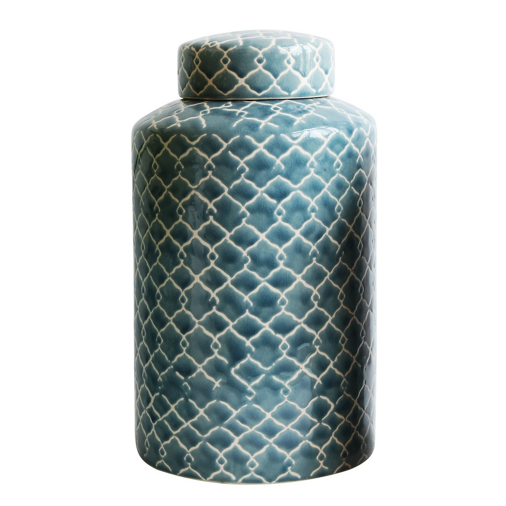 Image of Stoneware Hand-Painted Ginger Jar with Fret Pattern - Blue - 3R Studios