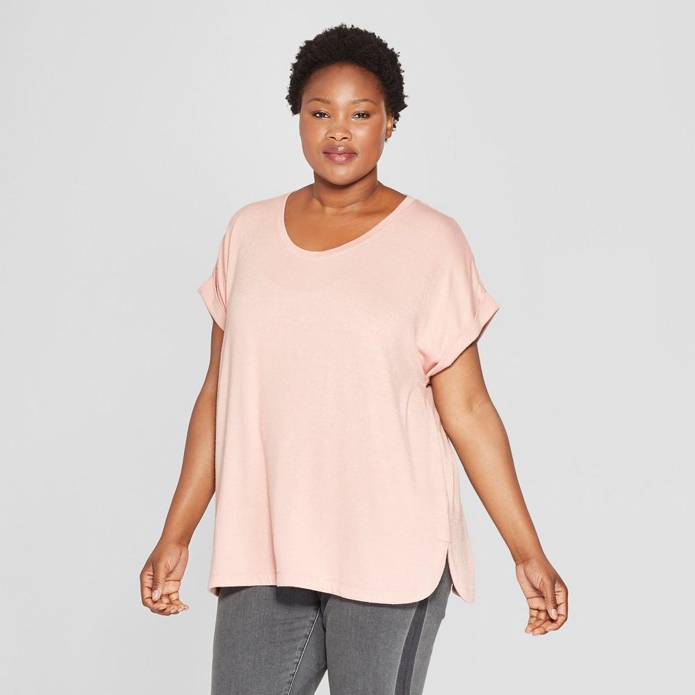 Women's Plus Size Textured Cuff Short Sleeve T-Shirt - Ava & Viv Pink 2X