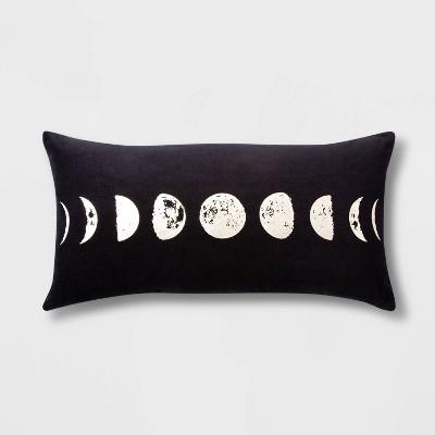 Phases of the Moon Velvet Lumbar Throw Pillow Black - Room Essentials™
