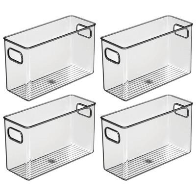mDesign Plastic Kitchen Pantry Food Storage Bin with Handles, 4 Pack - Smoke Gray