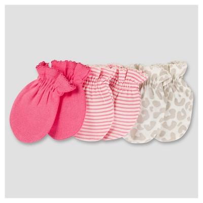 Baby Girls' 3pk Mitten Set - Kitty 0-3M - Gerber®