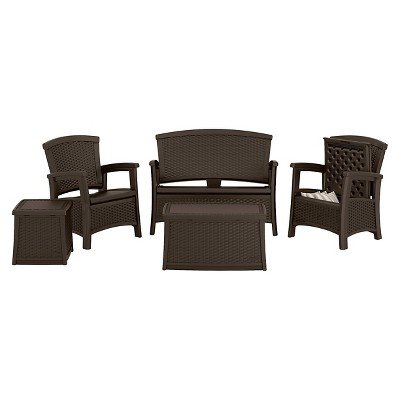 Suncast ELEMENTS™ 5 Piece Resin Patio Conversation Set With Storage : Target