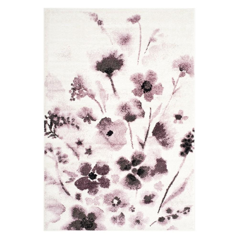 6'X9' Floral Area Rug Ivory/Purple - Safavieh, White Purple