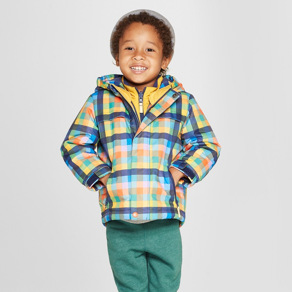 Toddler Boys' Plaid 3-in-1 Jacket - Cat & Jack Navy 12M, Blue