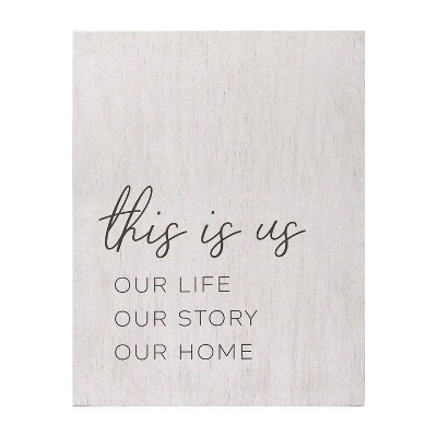 "23.62"" x 30.31"" Life, Story, Home Oversized Wall Art White - Stratton Home Décor"