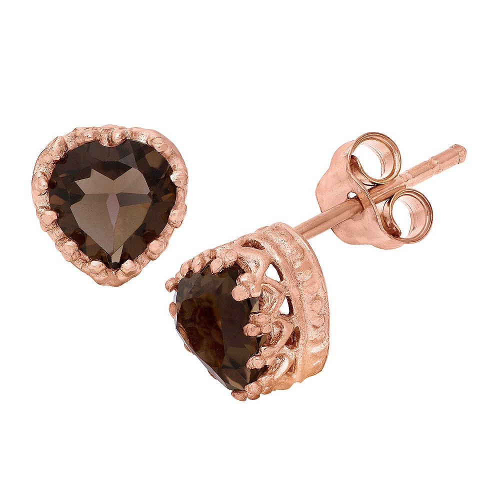 1 1/2 Tcw Tiara Rose Gold Over Silver Heart-Cut Smoky Quartz Crown Earrings