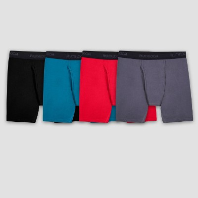 Fruit of the Loom Men's Comfort Stretch Cotton Spandex Boxer Briefs - Colors May Vary