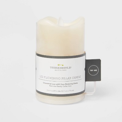 "5"" x 3"" LED Flickering Flame Candle Cream - Threshold™"