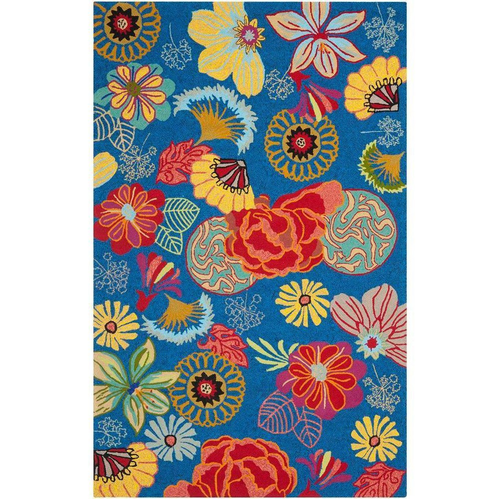 5X8 Hooked Floral Area Rug Blue/Red - Safavieh Coupons