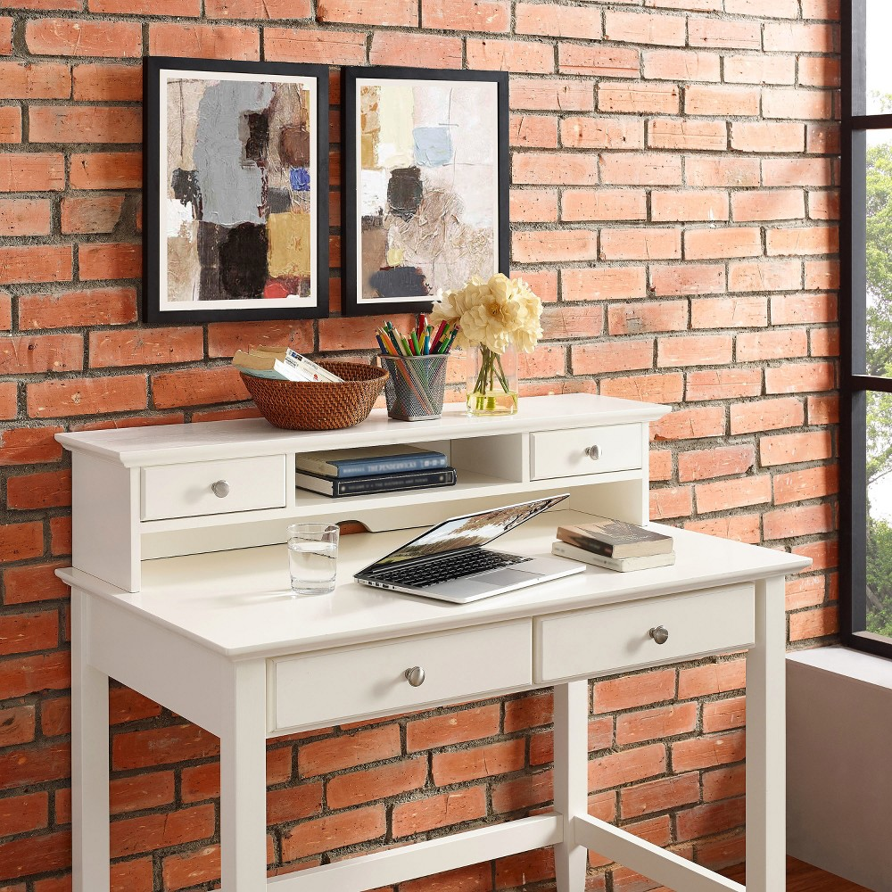 Campbell Writing Desk with Hutch White - Crosley